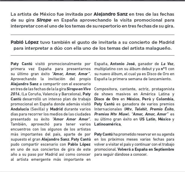 PATY CANTÚ enamoró España en su primera visita y actuó con Alejandro Sanz en la gira Sirope 2016